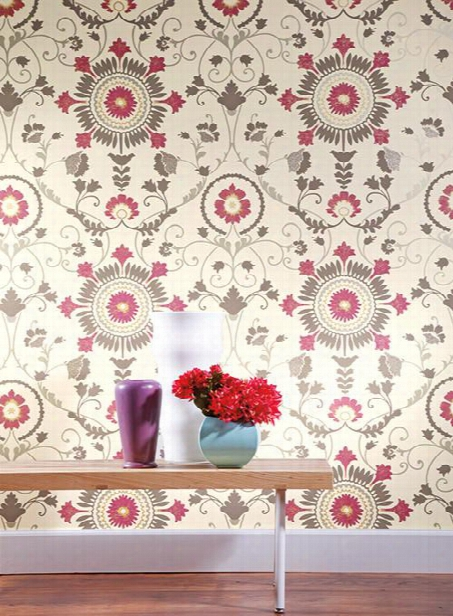 Enamel Ornament Wallpaper In Purple And Grey Design By Carey Lind For York Wallcoverings