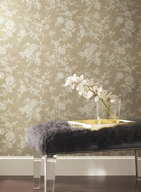 Equinox Cork Print Wallpaper In Gold By Ronald Redding For York Wallcoverings