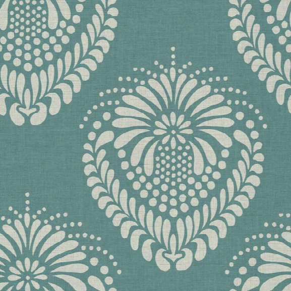 Escala Damask Wallpaper In Blue And Silver By Ronald Redding For York Wallcoverings