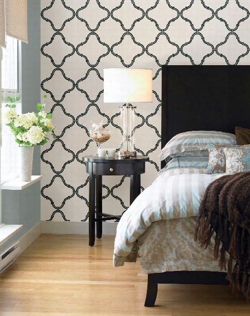 Estate Moroccan Grate Wallpaper In Black And White By Brewster Home Fashions