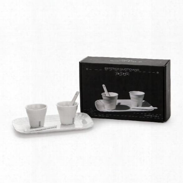 Estetico Quotidiano Set Of 2 Coffee Cups & 1 Tray Design By Seletti