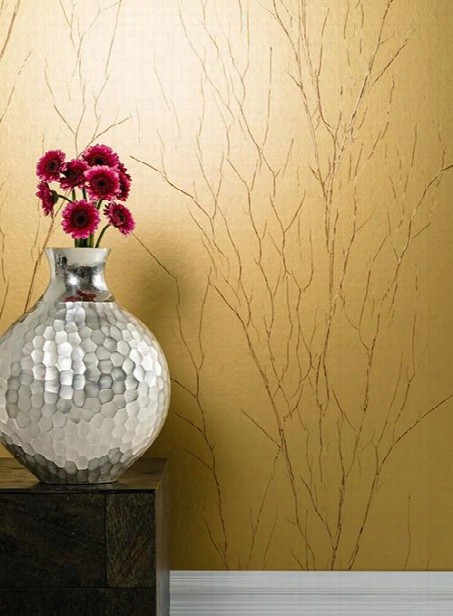 Estuary Wallpaper In Gold And Red By Antonina Vella For York Wallcoverings