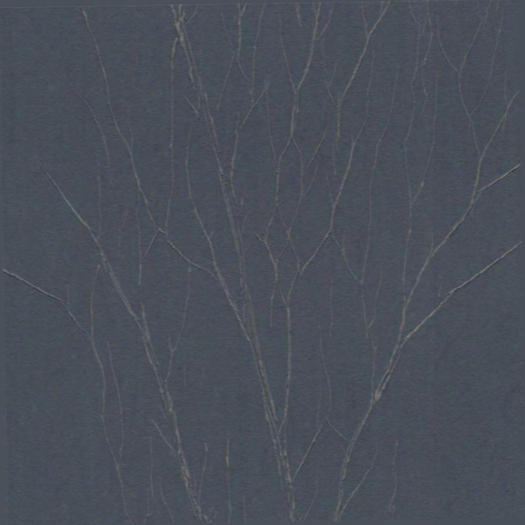 Estuary Wal Lpaper In Metallic Blue Charcoal And Beige By Antonina Vella For York Wallcoverings