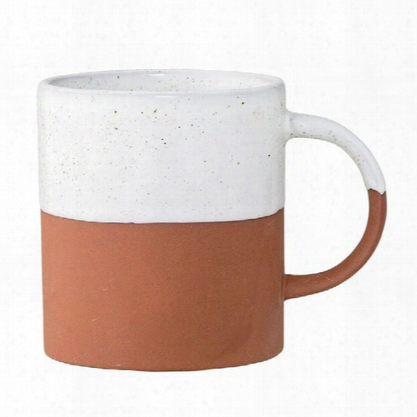 Evelyse Terra Cotta Mug In White & Clay Design By Bd Edition