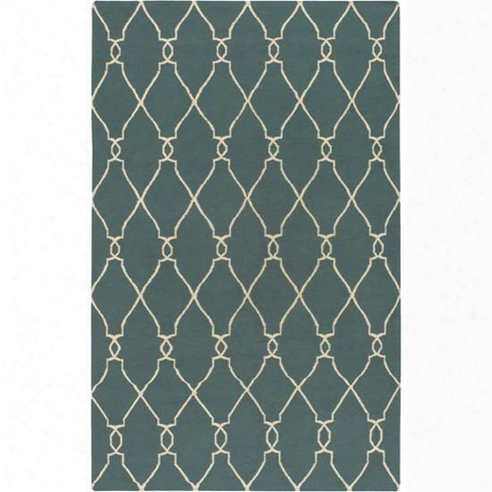 Fallon Wool Area Rug In Peacock Green And Papyrus Design By Jill Rosenwald