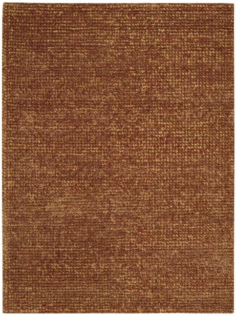 Fantasia Collection Wool Blend Area Rug In Rust Design By Nourison