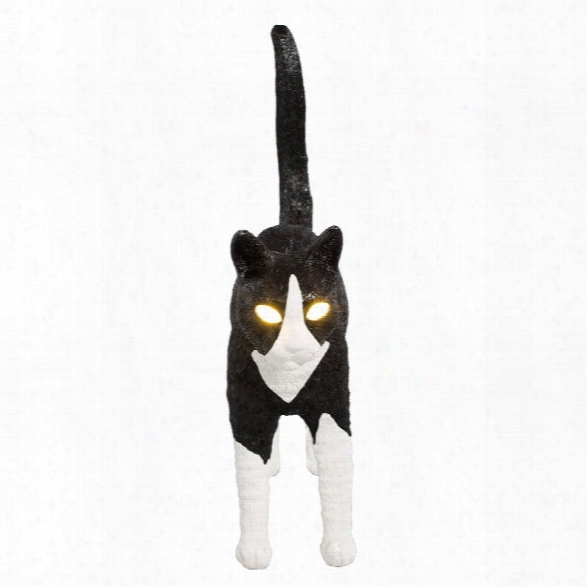Felix Portable Cat Lamp In Black & White By Seletti