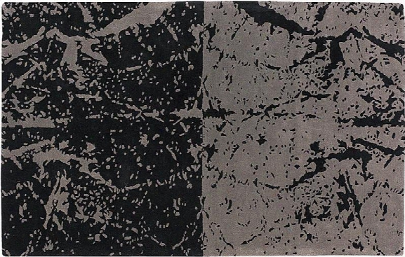 Fenja Hand-tufted New Zealand Wool Abstract Area Rug In Grey & Black Design By Chandra Rugs