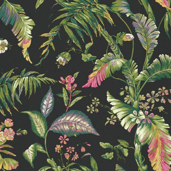 Fiji Garden Wallpaper In Green And Black Design By York Wallcoverings