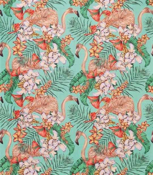 Flamingo Club Fabric In Jade, Peach, And Coral By Matthew Williamson For Osborne & Little