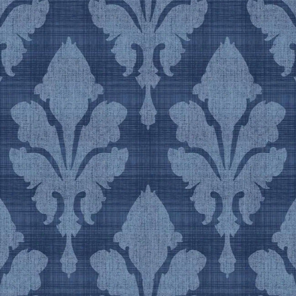 Fleurish Wallpaper In Blue Design By Stacy Garcia For York Wallcoverings