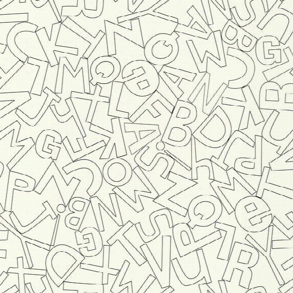 Alphabet Soup Wallpaper In Black And White By York Wallcoverings