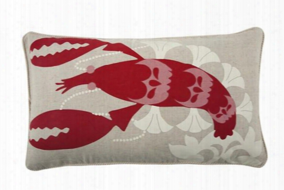 "Amalfi Lobster 12"" X 20"" Pillow In Tomato Design By Thomas Paul"