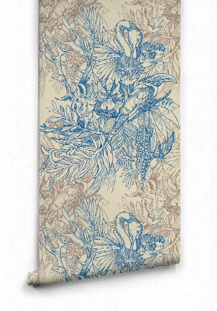 Amazonia Boutique Wallpaper In Blue By Milton & King