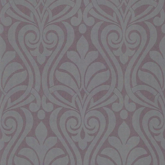 Amiya Purple New Damask Wallpaper From The Luna Collection By Brewster Home Fashions