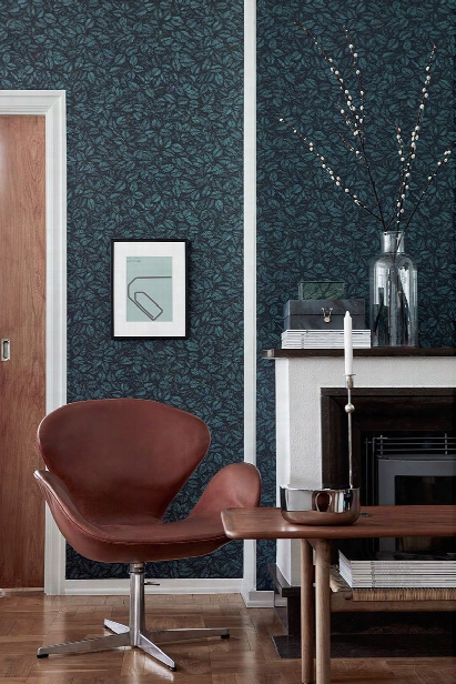 Amorina Teal Leaf Wallpaper From The Scandinavian Designers Ii Collection By Brewster