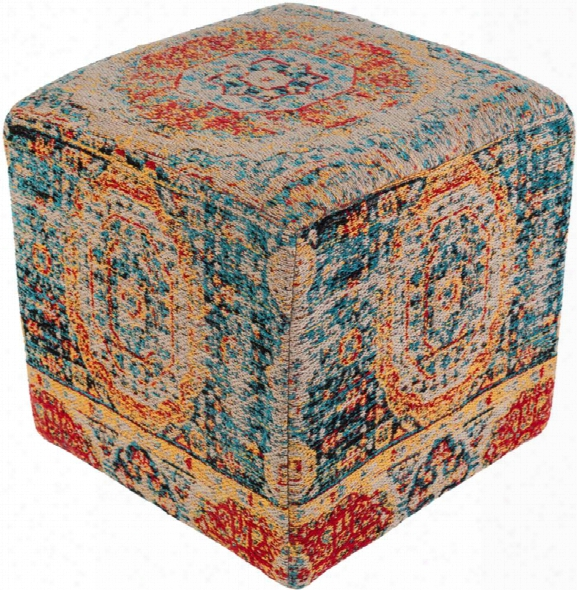 Amsterdam Polyester Pouf In Bright Blue And Saffron Color