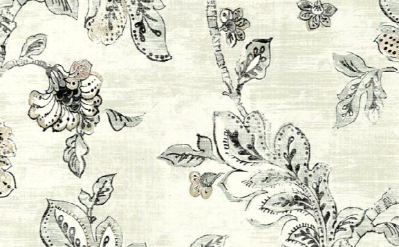 Floral Jacobean Wallpaper In Black, Brown, And Cream Design By Seabrook Wallcoverings