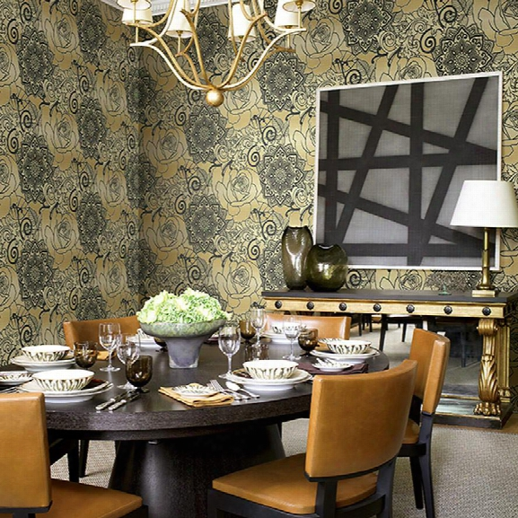 Floral Medallions Wallpaper In Black And Metallic Design By Seabrook Wallcoverings