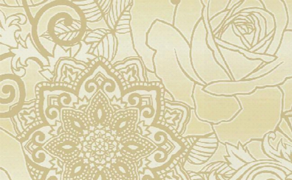 Floral Medallion Swallpaper In Browns And Metallic Design By Seabrook Wallcoverings