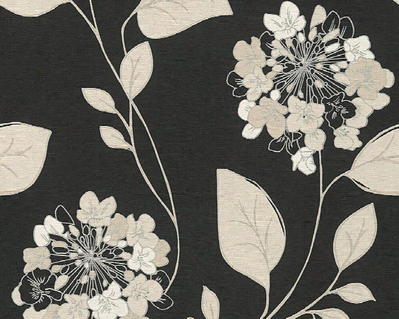 Floral Modern Nature Wallpaper In Black And Cream Design By Bd Wall