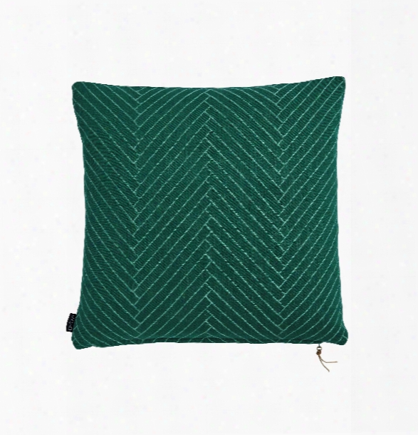 Fluffy Herringbone Pillow In Dark Green Design By Oyoy