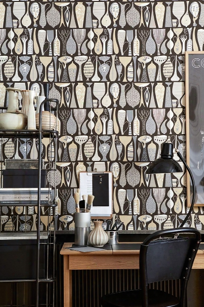Folk Black Pottery Wallpaper From The Scandinavian Designers Ii Collection By Brewster Home Fashions