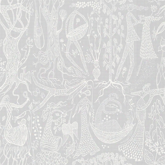 Folk Light Grey Poem D'amour Wallpaer From The Scandinavian Designers Ii Collection By Brewster