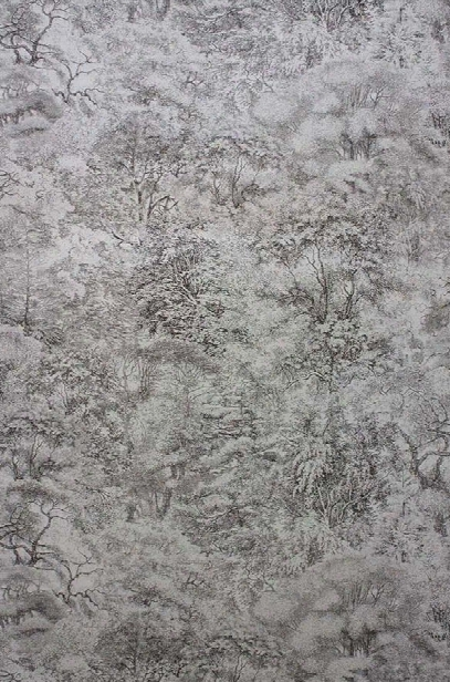 Folyo Wallpaper In Charcoal And Metallic Silver From The Pasha Collection By Osborne & Little