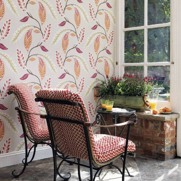Fontibre Wallpaper In Crimson And Coral By Nina Campbell For Osborne & Little