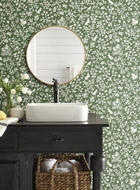 Fox & Hare Wallpaper In Forest Green From Magnolia Home Vol. 2 At Joanna Gaines