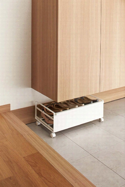 Frame Rolling Shoe Rack In Various Colors Design By Yamazaki