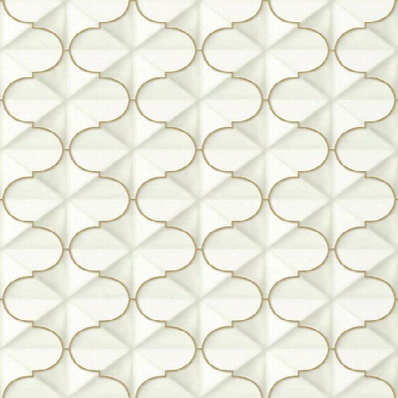 Frances Wallpaper In Gold From The Ashford Whites Collection By York Wallcoverings
