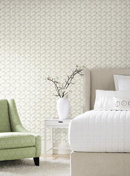 Frances Wallpaper In Silver From The Ashford Whites Collection By York Wallcoverings