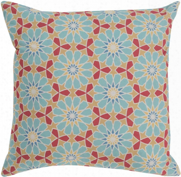 """Francesco 18"""" X 18"""" Cotton Cushion In Aqua And Rose Color By Surya"""
