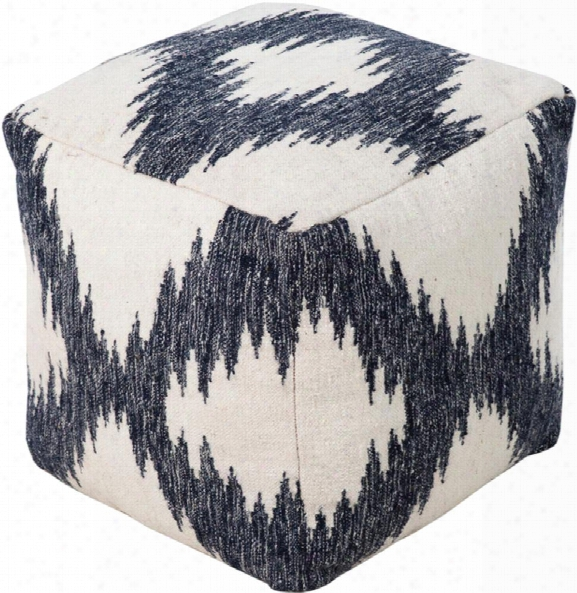 Frontier Wool Pouf In Khaki And Navy Color