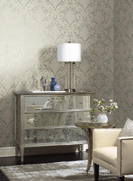 Full Damask Wallpaper In Aqua Design By York Wallcoverings