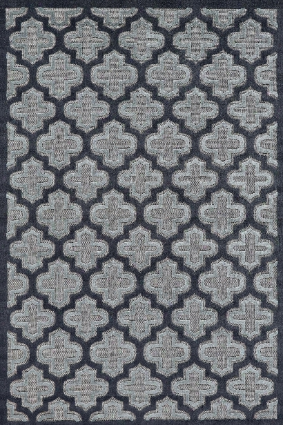 Functional Collection Power Loomed Ppolypropylene Area Rug In Black & Charcoal Design By Bd Fine