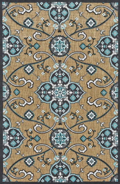 Functional Collection Power Loomed Polypropylene Area Rug In Tan & Charcoal Design By Bd Fine