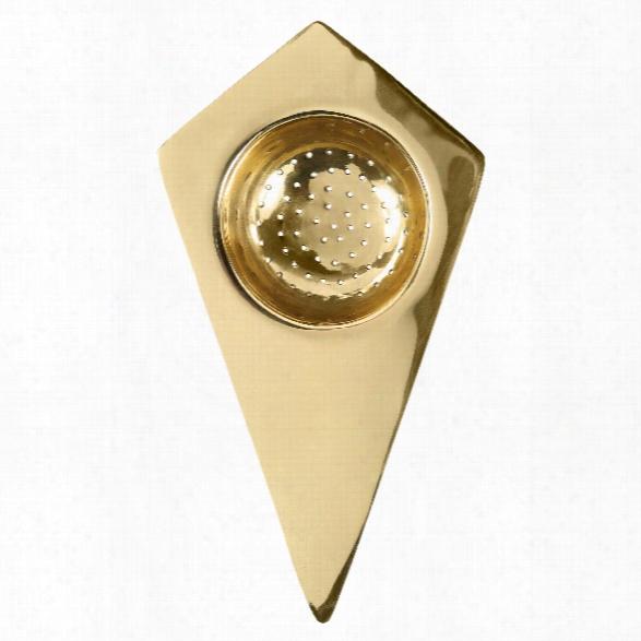 Belgrano Tea Strainer In Solid Brass Design By Sir/madam