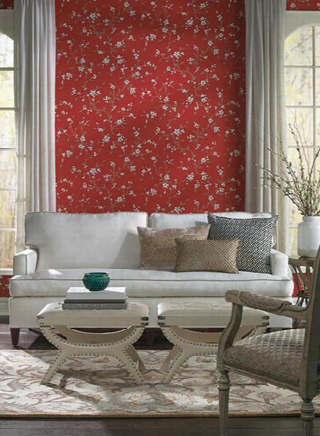 Bella Floral Wallpaper In Red By Ronald Redding For York Wallcoverings