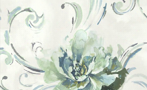 Belle View Floral Wallpaper In Blues And Metallic By Carl Robinson For Seabrook Wallcoverings