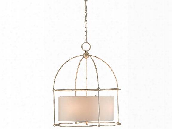 Benson Lantern In Silver Granello Design By Currey & Company