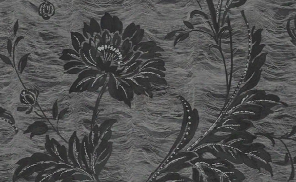Berkley Floral Wallpaper In Black And Metallic By Carl Robinson For Seabrook Wallcoverings