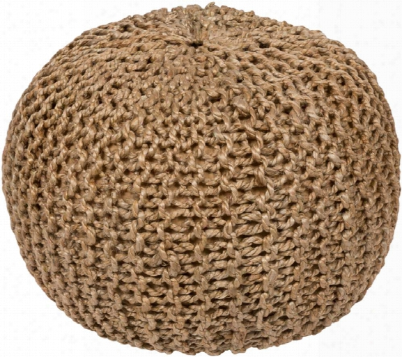 Bermuda Jute Pouf In Khaki Color