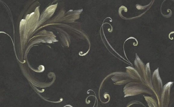 Beufort Scrolled Wallpaper In Black And Metallic By Carl Robinson For Seabrook Wallcoverings
