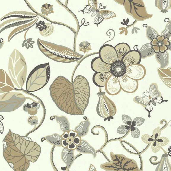 Sea Fl Oral Wallpaper In Beige And Grey Design By Carey Lind For York Wallcoverings