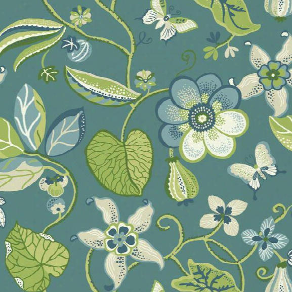 Sea Floral Wallpaper In Blue And Green Design By Carey Lind For York Wallcoverings