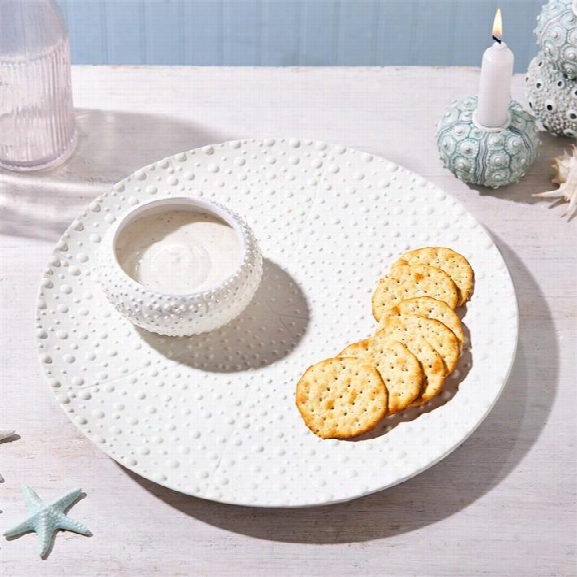 Sea Urchin Chip N' Dip Plate & Bowl Design By Twos Company