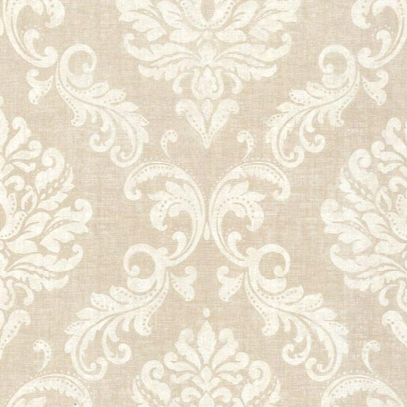 Sebastion Beige Damask Wallpaper Design By Brewster Home Fashions